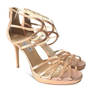 5bd4c8eec0 NEW JIMMY CHOO Strappy Cage Glitter Sandals